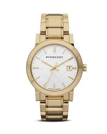 Burberry - Gold Bracelet Watch with Plaid Etching, 38mm