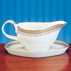 Mottahedeh Chinois Blue Gravy Boat & Stand
