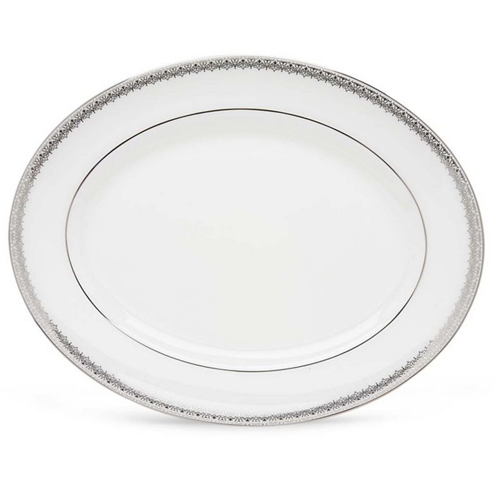 """Lenox - """"Lace Couture"""" Oval Platter, 13"""""""