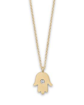 """Meira T - 14K Yellow Gold Hamsa Necklace, 16"""""""