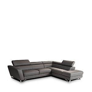 This European-style sectional from Nicoletti adapts to provide you with the ultimate in modern comfort. Thick angled track arms and adjustable ratcheted headrests accommodate your every design whim.