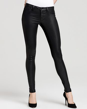 AQUA - Coated Skinny Jeans in Black - 100% Exclusive