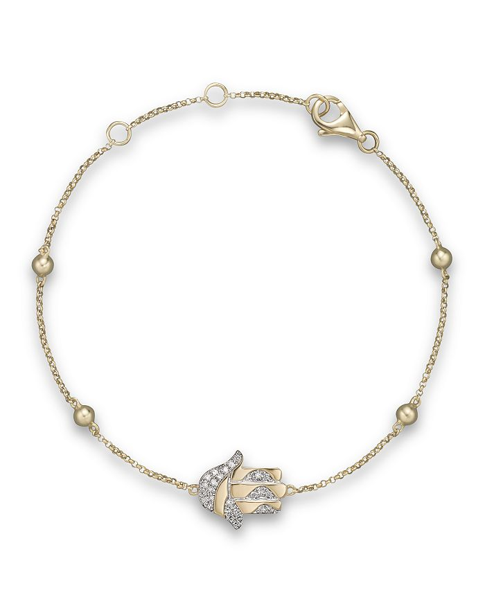 Bloomingdale's - Diamond Hamsa Bracelet in 14K Yellow Gold, .10 ct. t.w. - 100% Exclusive