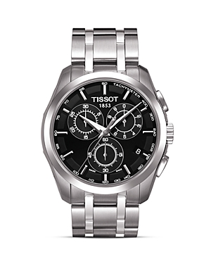 Tissot Couturier Men's Black Chronograph Stainless Steel Watch, 41mm
