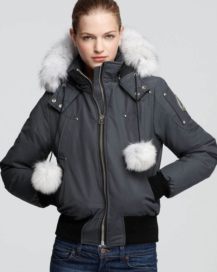 Moose Knuckles - Debbie Fox Fur Trim Down Bomber Jacket