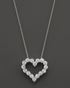 Diamond Heart Pendant Necklace in 14K White Gold, .50 ct. t.w.