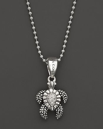 aef0f56639fca LAGOS Sterling Silver Rare Wonders Small Turtle Pendant Necklace ...