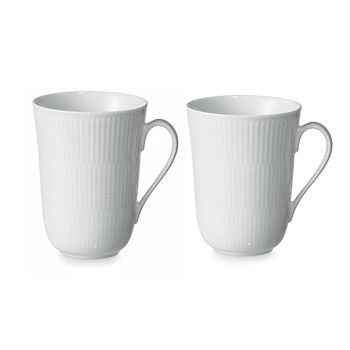 Royal Copenhagen - White Fluted Mug, Set of 2