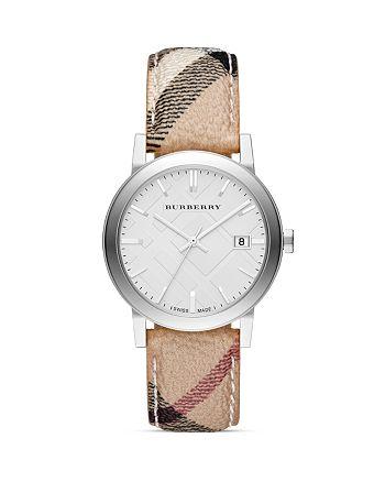 Burberry - Haymarket Check Round Strap Round Watch, 38mm