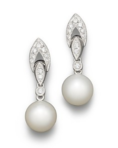 Bloomingdale's - Cultured Freshwater Pearl and Diamond Antique Style Drop Earrings, 8mm - 100% Exclusive