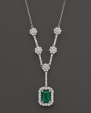 Emerald and Diamond Necklace in 14K White Gold - 100% Exclusive