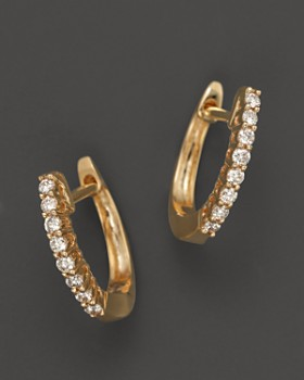 Bloomingdale S Diamond Huggie Hoop Earrings In 14k Yellow Gold 15 Ct
