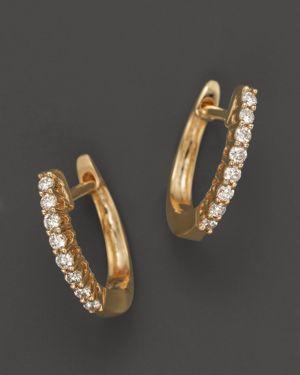 Diamond Huggie Hoop Earrings in 14K Yellow Gold, .15 ct. t.w.
