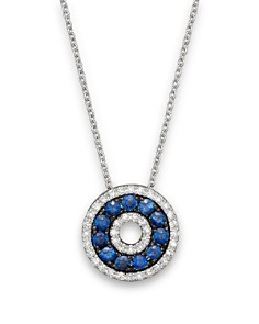 Circle pendants bloomingdales diamond and sapphire circle pendant necklace in 14k white gold 18 bloomingdale aloadofball Image collections
