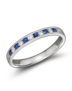 Sapphire and Diamond Channel Set Band in 14K White Gold - 100% Exclusive