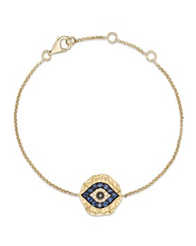 Bloomingdale's - Diamond and Sapphire Evil Eye Bracelet in 14K Yellow Gold- 100% Exclusive