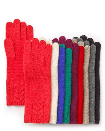 C by Bloomingdale's - Cable Gloves - 100% Exclusive