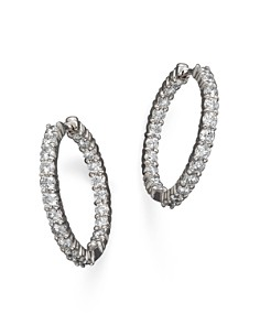Roberto Coin 18k White Gold Diamond Inside Out Hoop Earrings Bloomingdale S 0
