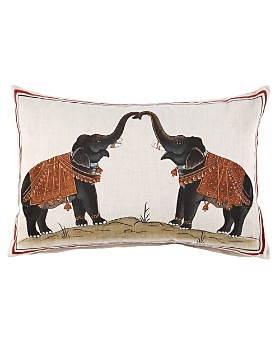 "John Robshaw - Two Elephants Decorative Pillow, 12"" x 18"""