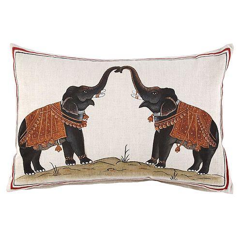 "JR by John Robshaw - Two Elephants Decorative Pillow, 12"" x 18"""