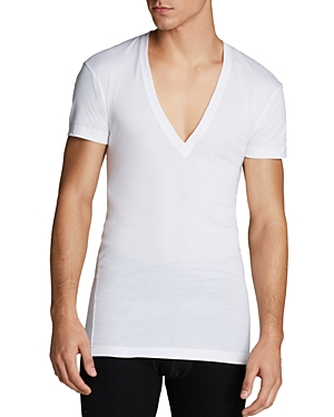 2(X)Ist Pima Cotton Slim Fit Deep V-Neck Tee