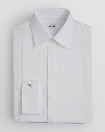 Armani - Fly Front Pleated Tuxedo Dress Shirt - Regular Fit