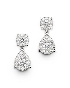 Bloomingdale's - Diamond Cluster Teardrop Earrings in 14K White Gold, 1.50 ct. t.w.- 100% Exclusive