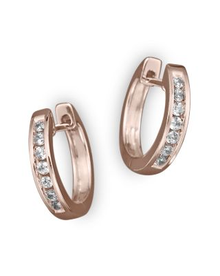 Channel Set Huggie Hoop Earrings In 14K Rose Gold, .15 Ct. T.W.