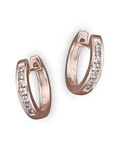 Channel Set Huggie Hoop Earrings in 14K Rose Gold, .15 ct. t.w. - Bloomingdale's_0