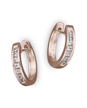 Channel Set Huggie Hoop Earrings in 14K Rose Gold, .15 ct. t.w.