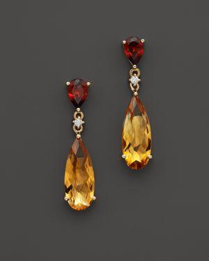 14K Yellow Gold Garnet & Citrine Drop Earrings - 100% Exclusive