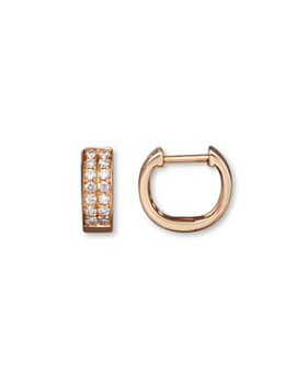 Bloomingdale's - Diamond Double Row Huggie Hoop Earrings in 14K Rose Gold, .25 ct. t.w. - 100% Exclusive