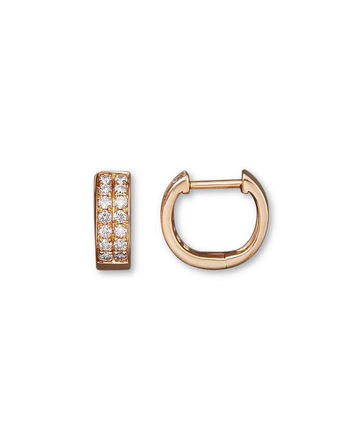 Bloomingdale's - Diamond Double Row Huggie Hoop Earrings in 14K Rose Gold, .25 ct. t.w.- 100% Exclusive