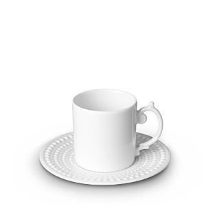 L'Objet Perlee White Espresso Cup & Saucer