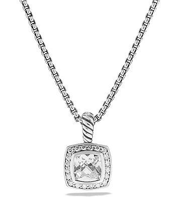 David Yurman - Petite Albion Pendant with White Topaz and Diamonds on Chain