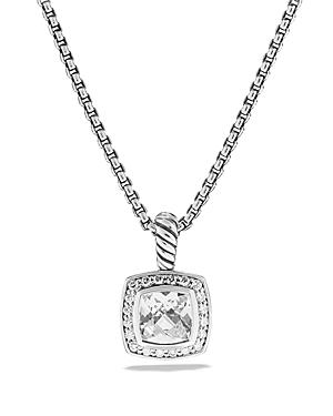 David Yurman Petite Albion Pendant with White Topaz and Diamonds on Chain