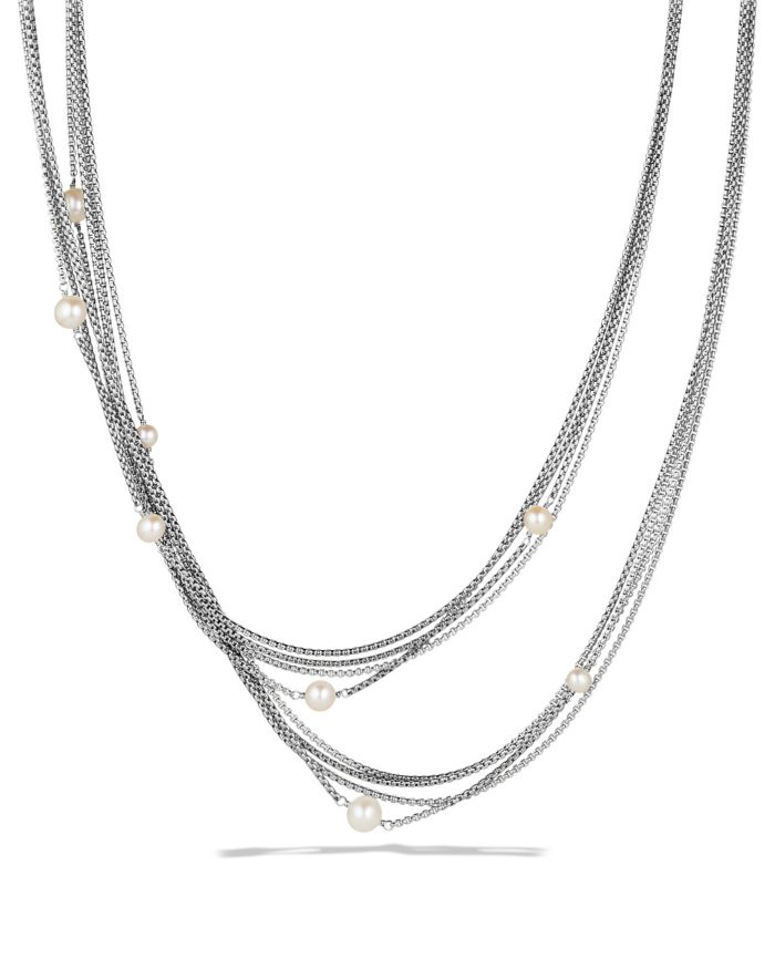David Yurman Four-Row Chain Necklace with Pearls    Bloomingdale's