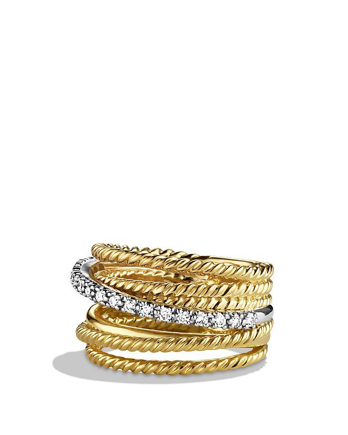 David Yurman - Crossover Wide Ring with Diamonds in Gold