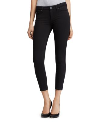 $PAIGE Transcend Verdugo Crop Jeans in Black Overdye - Bloomingdale's