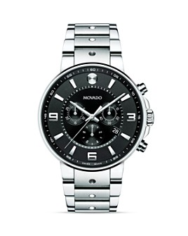 Movado - S.E. Pilot Stainless Steel case with Black Soleil Dial Watch, 42mm
