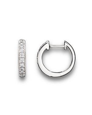 Diamond Bezel Set Huggie Hoop Earrings in 14K White Gold, .30 ct. t.w. - 100% Exclusive