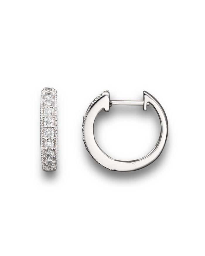 Bloomingdale's Diamond Bezel Set Huggie Hoop Earrings in 14K White Gold, .30 ct. t.w. - 100% Exclusive  | Bloomingdale's