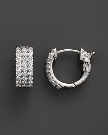 Bloomingdale's - Diamond 3 Row Huggie Hoop Earrings 14K White Gold, .50 ct. t.w.- 100% Exclusive