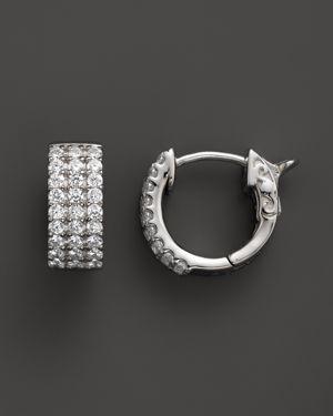 Diamond 3 Row Huggie Hoop Earrings 14K White Gold, .50 ct. t.w. - 100% Exclusive