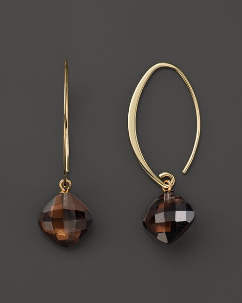 Bloomingdale's - 14K Yellow Gold Simple Sweep Earrings with Smoky Quartz - 100% Exclusive