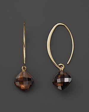 14K Yellow Gold Simple Sweep Earrings with Smoky Quartz - 100% Exclusive