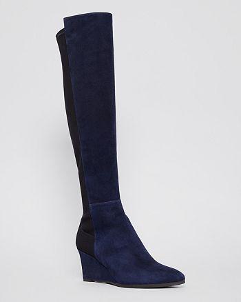 Stuart Weitzman - Pointed Toe Tall Wedge Boots - Demimimi