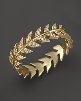 Mizuki - Mizuki 14K Yellow Gold Feather Eternity Band with Diamonds
