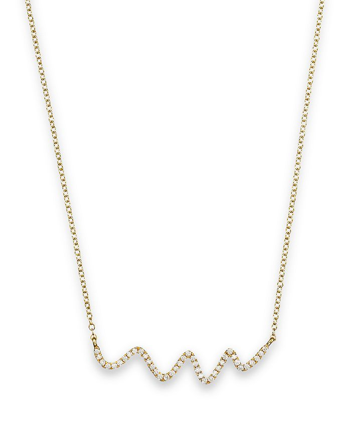 """Meira T - 18K Yellow Gold Diamond Squiggle Necklace, 16"""""""