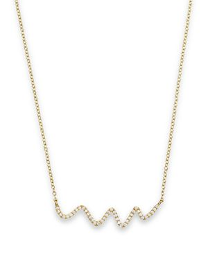 Meira T 18K Yellow Gold Diamond Squiggle Necklace, 16
